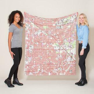 Couverture Polaire Verger vintage CA Map d'Anaheim et de jardin