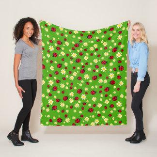Couverture Polaire vert mignon de motif de fleur de coccinelle et de