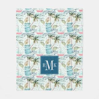 Couverture Polaire Voilier d'aquarelle avec le motif de palmier
