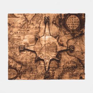 Couverture Polaire Voyageur antique du monde - rose de carte et de