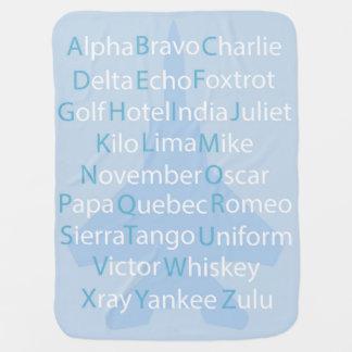 Couverture Pour Bébé Alphabet phonétique, carreau d'aviation