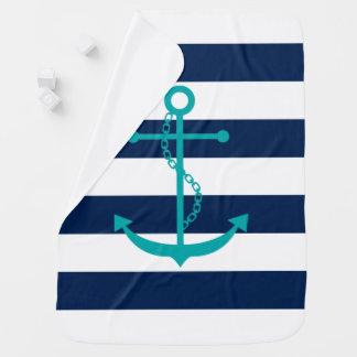 Couverture Pour Bébé Ancre turquoise sur des rayures de bleu marine