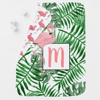 Couverture Pour Bébé Aquarelle rose mignonne de flamant de monogramme