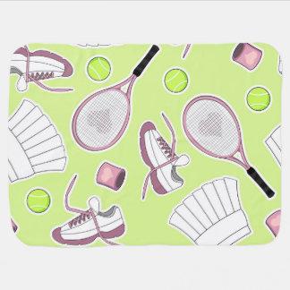 Couverture Pour Bébé Arrière - plan de vert de motif de fille de tennis