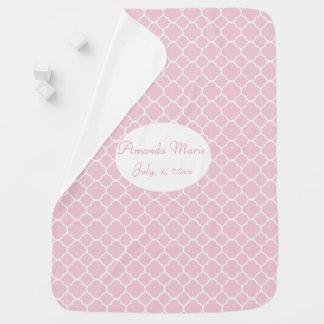 Couverture Pour Bébé Assez, Quatrefoil rose et blanc, coutume