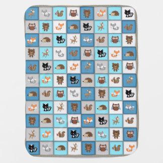 Couverture Pour Bébé *Blue de Quiltlike d'animaux de bébé de patchwork