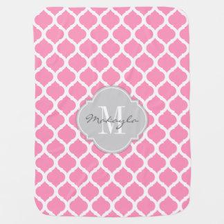Couverture Pour Bébé Chevron rose et blanc de Bubblegum avec le