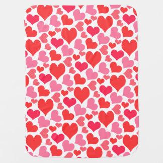 Couverture Pour Bébé Coeurs rouges et roses de Saint-Valentin pour