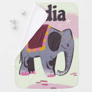 Couverture Pour Bébé Copie vintage d'affiche de voyage d'éléphant
