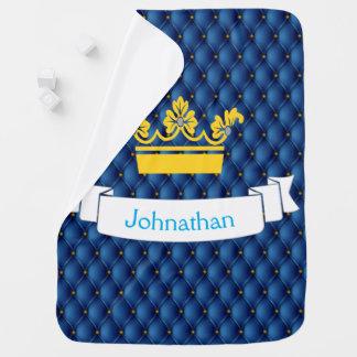 Couverture Pour Bébé Couronne d'or de Pin-repli de prince de bleu royal