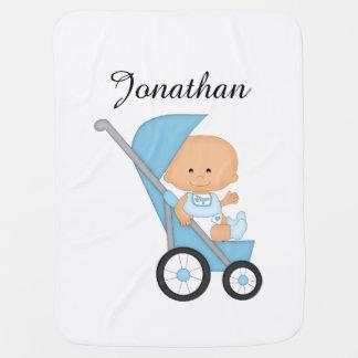 Couverture Pour Bébé Couverture bleue personnalisée de bébé de