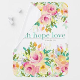 Couverture Pour Bébé Couverture florale de bébé d'aquarelle de l'amour