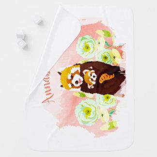 Couverture Pour Bébé Couverture florale rose personnalisée de bébé de