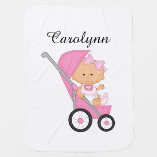 Couverture Pour Bébé Couverture rose personnalisée de bébé de poussette