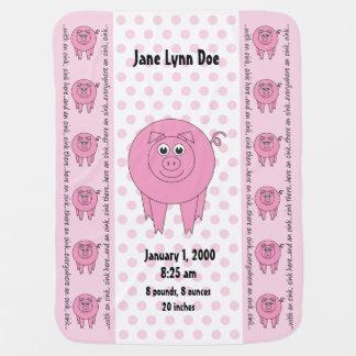 Couverture Pour Bébé Couverture rose personnalisée de porc (bilatérale)