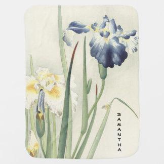 Couverture Pour Bébé Couverture vintage de bébé de fleur d'iris