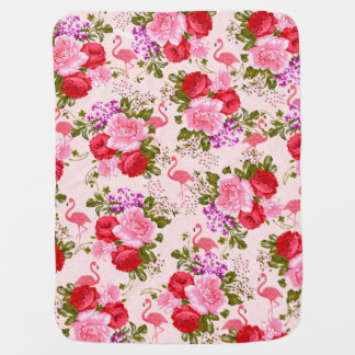 Couverture Pour Bébé Cru élégant de flamant d'aquarelle rose floral