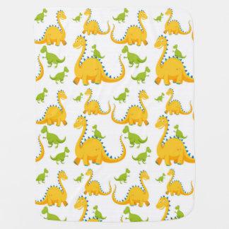 Couverture Pour Bébé Dinosaures jaunes d'amusement et verts mignons