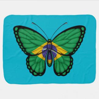Couverture Pour Bébé Drapeau brésilien de papillon