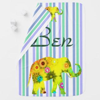 Couverture Pour Bébé Drôle, personnalisé, bandes, éléphant, floral