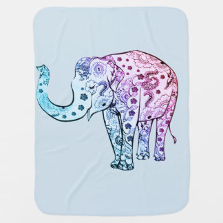"""Couverture Pour Bébé """"Éléphant de henné de mandala """""""