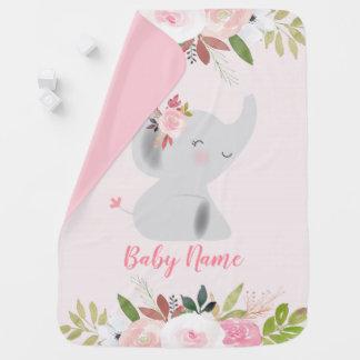 Couverture Pour Bébé Éléphant rose floral