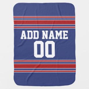Couverture Pour Bébé Équipe Jersey avec le nom et le nombre faits sur