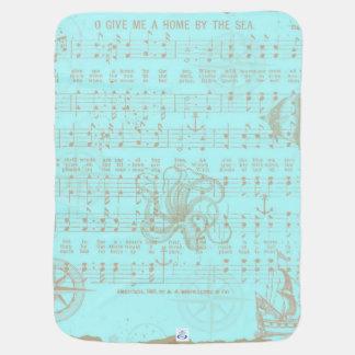 Couverture Pour Bébé Feuille musicale nautique turquoise vintage