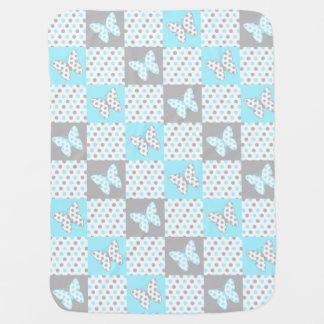 Couverture Pour Bébé Fille grise de point de polka de papillon de gris