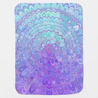 Couverture Pour Bébé Fleur de mandala dans bleu-clair et pourpre