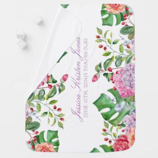 Couverture Pour Bébé Floral romantique tropical de stat de naissance de