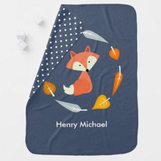 Couverture Pour Bébé Fox en guirlande de feuille d'automne