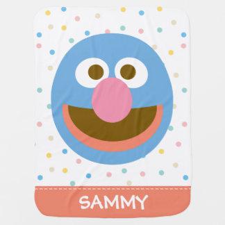 Couverture Pour Bébé Le bébé grand Face  de Grover ajoutent votre nom