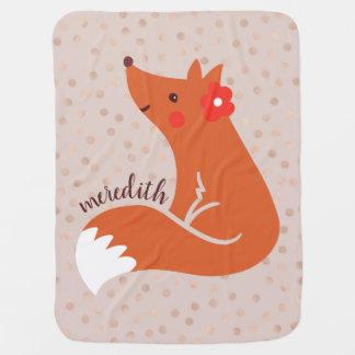 Couverture Pour Bébé Le Fox mignon avec la fleur/rougissent arrière -
