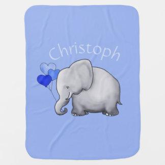 Couverture Pour Bébé L'éléphant personnalisé mignon de ballons de coeur