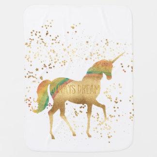 Couverture Pour Bébé Licorne de rêve d'arc-en-ciel d'or