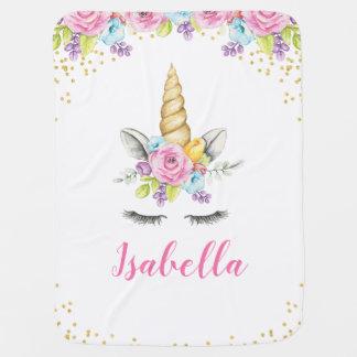 Couverture Pour Bébé Licorne florale d'aquarelle personnalisée