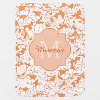 Couverture Pour Bébé Monogramme Girly floral orange moderne avec le nom