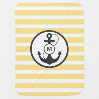 Couverture Pour Bébé Monogramme nautique jaune d'ancre