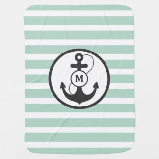 Couverture Pour Bébé Monogramme nautique vert clair d'ancre
