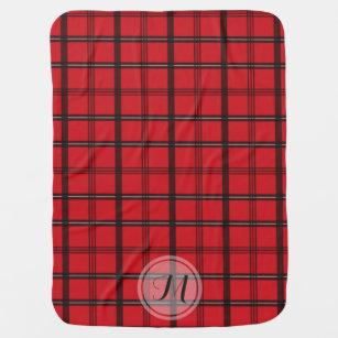 Couverture Pour Bébé Monogramme rouge et noir d'automne de tartan du