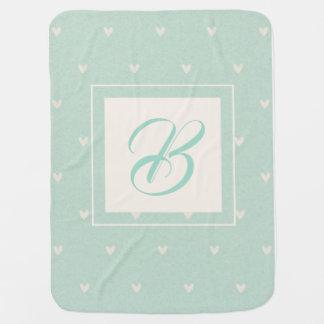 Couverture Pour Bébé Motif de coeur d'initiale de bébé de turquoise