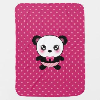 Couverture Pour Bébé Motif de pois mignon de rose d'ours panda de bébé