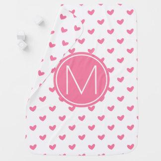 Couverture Pour Bébé Motif minuscule blanc rose élégant de coeur de