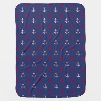 Couverture Pour Bébé Motif nautique d'ancres de rouge et de bleu marine