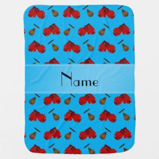 Couverture Pour Bébé Motif nommé personnalisé de boxe de bleu de ciel