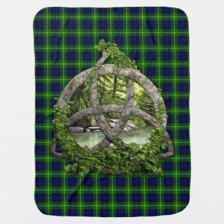 Couverture Pour Bébé Noeud de trinité et tartan celtiques de Gordon de