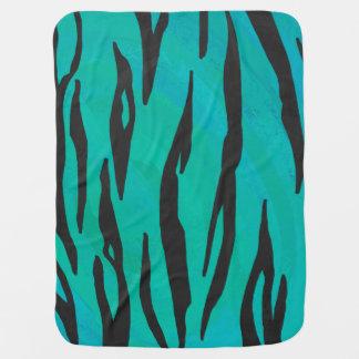Couverture Pour Bébé Noir de tigre et copie turquoise