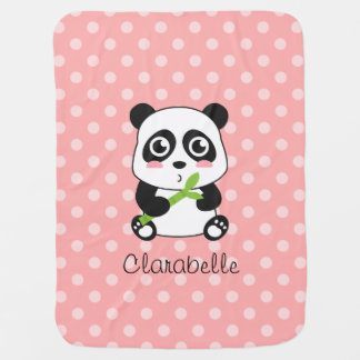 Couverture Pour Bébé Panda mignon avec le bambou, pois rose