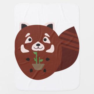 Couverture Pour Bébé Panda rouge avec son plante en bambou